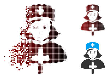 Vector catholic lady doctor icon in dissolved, pixelated halftone and undamaged whole variants. Disintegration effect involves rectangular scintillas and horizontal gradient from red to black.