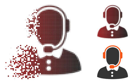 Vector call center operator icon in dispersed, dotted halftone and undamaged whole versions. Disappearing effect involves rectangular sparks and horizontal gradient from red to black.