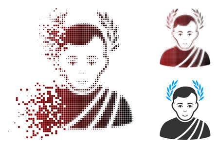 Vector caesar wreath icon in dispersed, dotted halftone and undamaged solid variants. Disappearing effect involves square sparks and horizontal gradient from red to black.
