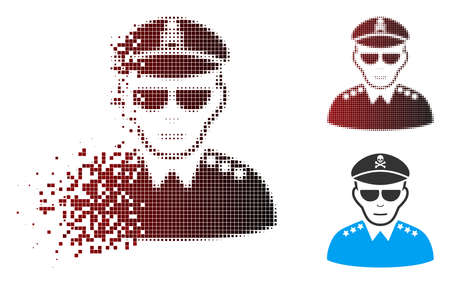 Vector evil army general icon in dispersed, pixelated halftone and undamaged entire versions. Disappearing effect involves rectangular particles and horizontal gradient from red to black.