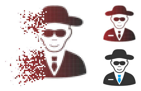 Vector spy icon in sparkle, dotted halftone and undamaged entire variants. Disappearing effect uses rectangular dots and horizontal gradient from red to black. Ilustração