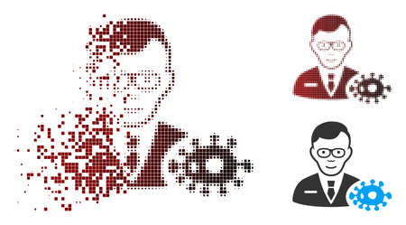 Vector bacteriologist icon in dissolved, pixelated halftone and undamaged whole variants. Disappearing effect involves rectangular scintillas and horizontal gradient from red to black. Standard-Bild - 112076744