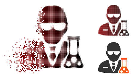 Vector scientist icon in fractured, pixelated halftone and undamaged whole versions. Disintegration effect uses rectangle sparks and horizontal gradient from red to black.