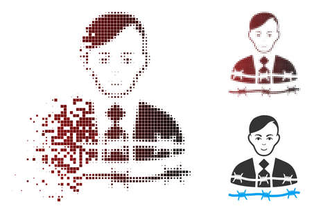 Vector businessman arrest icon in dispersed, dotted halftone and undamaged solid versions. Disappearing effect uses rectangular sparks and horizontal gradient from red to black. Illustration