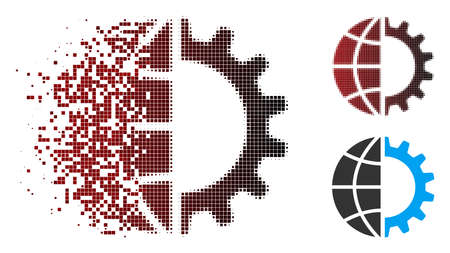 Vector global industry icon in dissolved, dotted halftone and undamaged solid variants. Disappearing effect involves square particles and horizontal gradient from red to black.