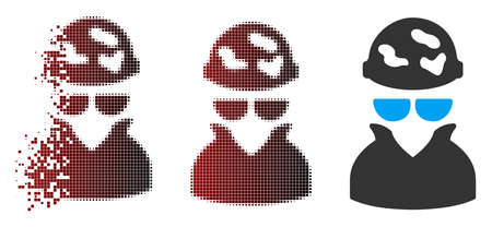 Vector spotted spy icon in dispersed, dotted halftone and undamaged whole versions. Disappearing effect involves rectangular sparks and horizontal gradient from red to black. Ilustração