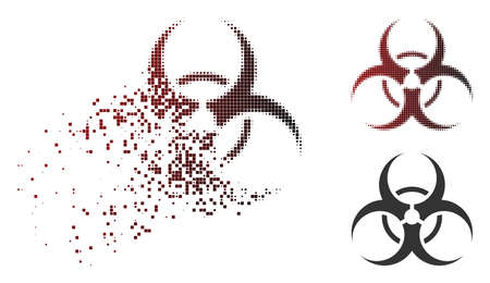 Vector biohazard symbol icon in dissolved, dotted halftone and undamaged whole variants.