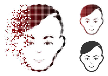Vector human head icon in dissolved, pixelated halftone and undamaged whole variants. Disappearing effect involves square dots and horizontal gradient from red to black. Illustration
