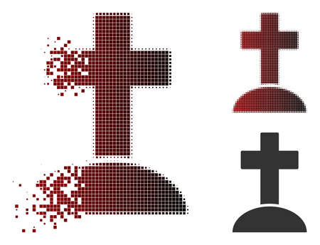 Vector grave icon in dispersed, dotted halftone and undamaged whole versions. Disappearing effect involves square sparks and horizontal gradient from red to black.