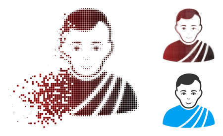 Vector patrician citizen icon in fractured, dotted halftone and undamaged entire variants. Disappearing effect uses rectangle dots and horizontal gradient from red to black.