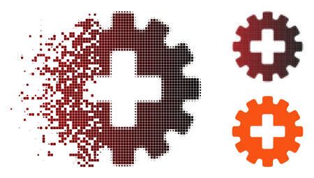 Vector plus gear icon in sparkle, dotted halftone and undamaged whole variants. Disintegration effect uses rectangular scintillas and horizontal gradient from red to black.