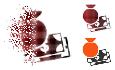 Vector capital icon in dissolved, dotted halftone and undamaged whole variants. Disappearing effect uses rectangle sparks and horizontal gradient from red to black. Vectores