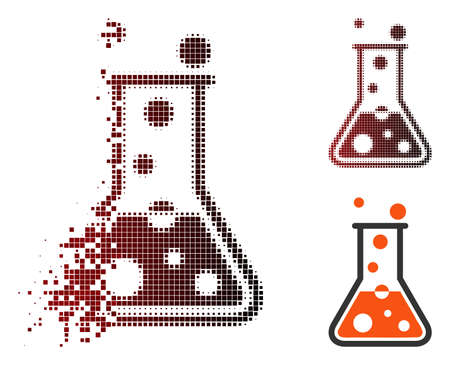 Vector boiling liquid icon in sparkle, dotted halftone and undamaged entire versions. Disintegration effect involves square particles and horizontal gradient from red to black. Illustration