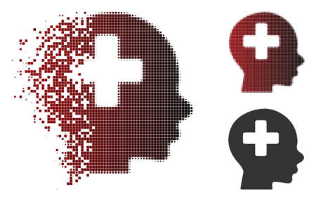 Vector head medicine icon in fractured, pixelated halftone and undamaged entire variants. Disappearing effect involves rectangular particles and horizontal gradient from red to black.