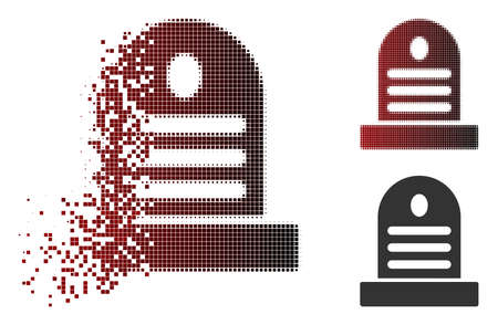 Vector tombstone icon in dispersed, dotted halftone and undamaged entire versions. Disappearing effect involves rectangular sparks and horizontal gradient from red to black.