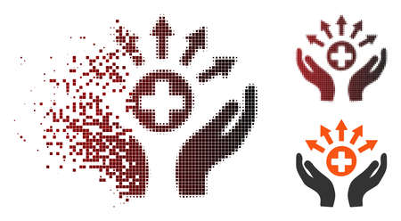 Vector medical distribution care hands icon in fractured, pixelated halftone and undamaged entire variants. Disintegration effect involves square particles and horizontal gradient from red to black.
