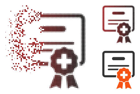 Vector medical certification icon in dissolved, dotted halftone and undamaged whole variants. Disintegration effect involves square particles and horizontal gradient from red to black.
