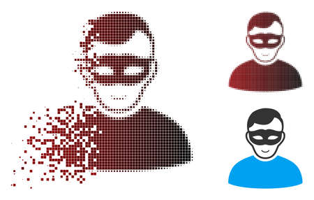 Vector anonymous person icon in dispersed, pixelated halftone and undamaged solid variants. Disintegration effect uses square scintillas and horizontal gradient from red to black.