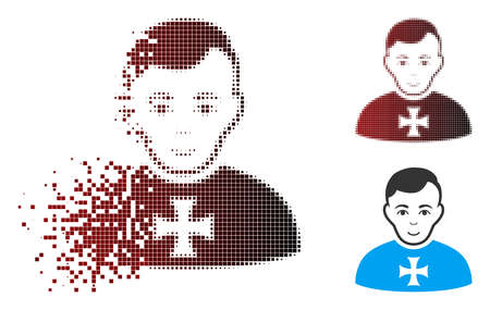Vector order chevalier icon in sparkle, dotted halftone and undamaged solid versions. Disappearing effect uses rectangle dots and horizontal gradient from red to black. Zdjęcie Seryjne - 112076865
