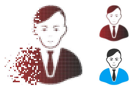 Vector businessman icon in dispersed, pixelated halftone and undamaged whole versions. Disappearing effect uses square scintillas and horizontal gradient from red to black.