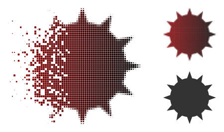 Vector bacterium icon in sparkle, dotted halftone and undamaged entire variants. Disintegration effect involves rectangle dots and horizontal gradient from red to black. Illustration
