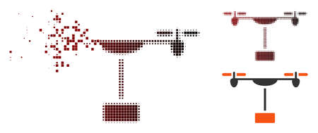 Vector drone shipment icon in sparkle, dotted halftone and undamaged whole versions. Disappearing effect involves square scintillas and horizontal gradient from red to black. Illustration