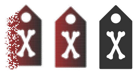 Vector dead marker icon in sparkle, pixelated halftone and undamaged solid variants. Disappearing effect involves rectangular particles and horizontal gradient from red to black.