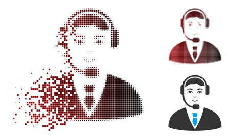 Vector call center operator icon in sparkle, dotted halftone and undamaged whole versions. Disappearing effect uses rectangle particles and horizontal gradient from red to black.