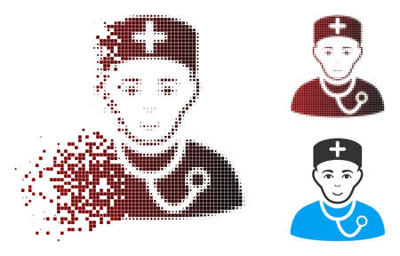 Vector physician icon in sparkle, dotted halftone and undamaged solid variants. Disintegration effect uses square dots and horizontal gradient from red to black. Zdjęcie Seryjne - 112076913