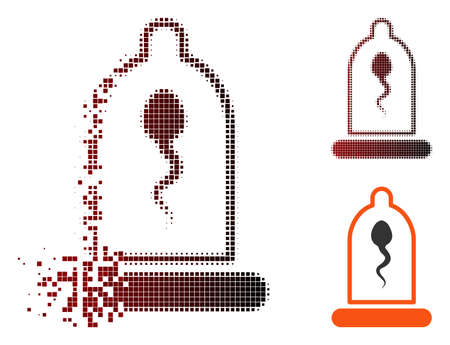 Vector sperm in condom icon in fractured, pixelated halftone and undamaged whole versions. Disintegration effect uses square scintillas and horizontal gradient from red to black.