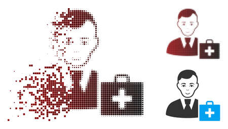 Vector first-aid manager icon in dissolved, dotted halftone and undamaged solid variants. Disappearing effect involves rectangular scintillas and horizontal gradient from red to black.