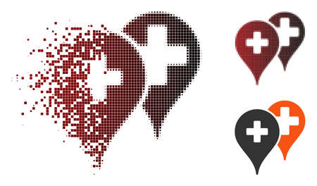 Vector medical map markers icon in sparkle, dotted halftone and undamaged whole versions. Disintegration effect uses rectangle particles and horizontal gradient from red to black.