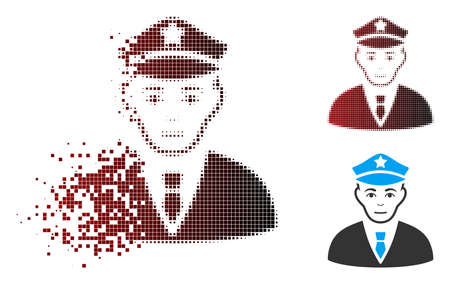 Vector policeman icon in fractured, pixelated halftone and undamaged whole variants. Disappearing effect involves square sparks and horizontal gradient from red to black.