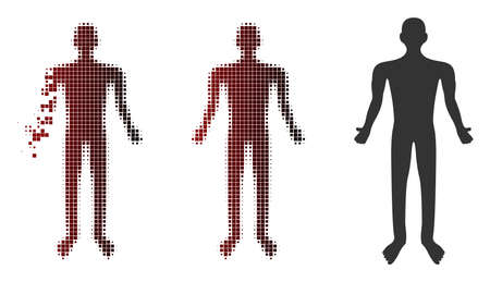 Vector human icon in sparkle, dotted halftone and undamaged solid versions. Disintegration effect uses square sparks and horizontal gradient from red to black.