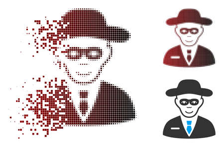 Vector security agent icon in sparkle, dotted halftone and undamaged whole versions. Disintegration effect uses rectangular dots and horizontal gradient from red to black. Ilustração