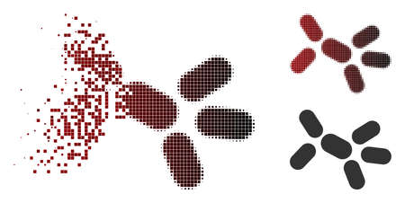 Vector yeast icon in fractured, dotted halftone and undamaged whole variants. Disappearing effect involves square particles and horizontal gradient from red to black.