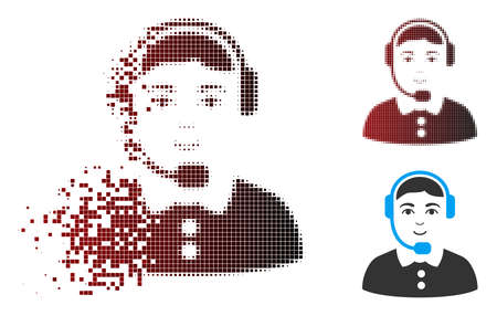 Vector call center operator icon in fractured, pixelated halftone and undamaged whole versions. Disappearing effect involves rectangle sparks and horizontal gradient from red to black.