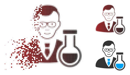 Vector chemist icon in sparkle, dotted halftone and undamaged entire variants. Disappearing effect uses square particles and horizontal gradient from red to black.