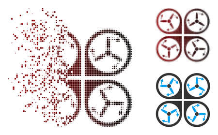 Vector copter screws rotation icon in fractured, pixelated halftone and undamaged whole variants. Disappearing effect uses square sparks and horizontal gradient from red to black.