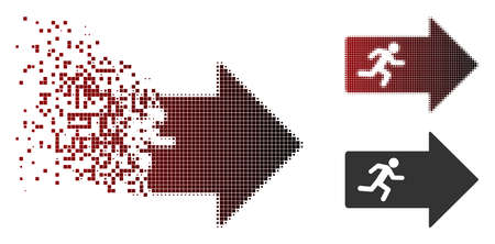 Vector exit arrow icon in sparkle, dotted halftone and undamaged solid variants. Disappearing effect involves square particles and horizontal gradient from red to black. Illustration