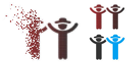 Vector hands up gentlemen icon in dispersed, dotted halftone and undamaged solid versions. Disintegration effect involves square scintillas and horizontal gradient from red to black. Illustration