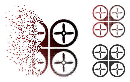 Vector nanocopter icon in dispersed, pixelated halftone and undamaged entire versions. Disappearing effect involves square sparks and horizontal gradient from red to black.