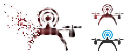Vector radio source drone icon in dispersed, dotted halftone and undamaged solid versions. Disintegration effect involves square sparks and horizontal gradient from red to black.