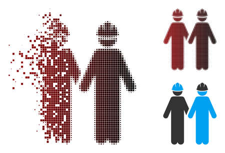 Vector workers icon in dissolved, dotted halftone and undamaged entire variants. Disappearing effect involves square sparks and horizontal gradient from red to black.