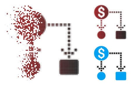 Vector cashflow icon in fractured, pixelated halftone and undamaged solid variants. Disappearing effect uses rectangular sparks and horizontal gradient from red to black.