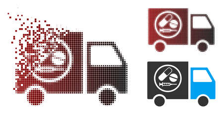 Vector drugstore truck icon in fractured, pixelated halftone and undamaged whole variants. Disappearing effect involves rectangular scintillas and horizontal gradient from red to black. Ilustração