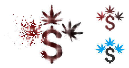 Vector cannabis business icon in dispersed, pixelated halftone and undamaged entire versions. Disappearing effect uses rectangle dots and horizontal gradient from red to black.