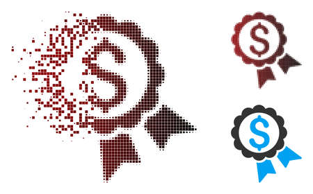 Vector featured price label icon in sparkle, dotted halftone and undamaged entire versions. Disappearing effect involves square particles and horizontal gradient from red to black.