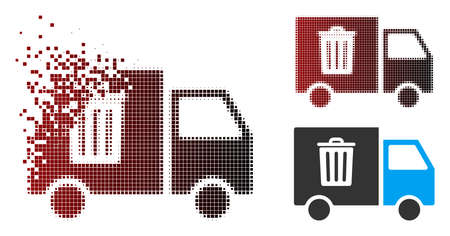 Vector rubbish transport van icon in dissolved, pixelated halftone and undamaged entire variants. Disappearing effect involves square scintillas and horizontal gradient from red to black. Stockfoto - 112055724