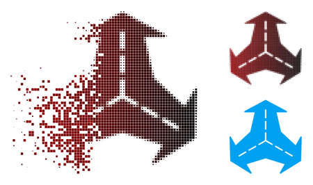 Vector intersection directions icon in dispersed, dotted halftone and undamaged solid variants. Disappearing effect involves rectangle particles and horizontal gradient from red to black.